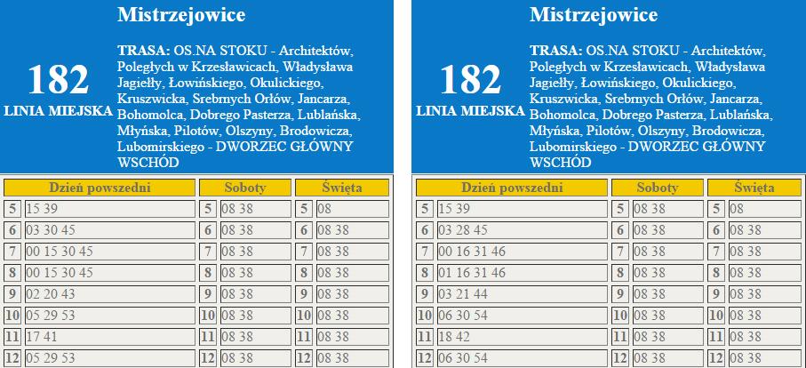Korekta rozkładów jazdy 182 i 482